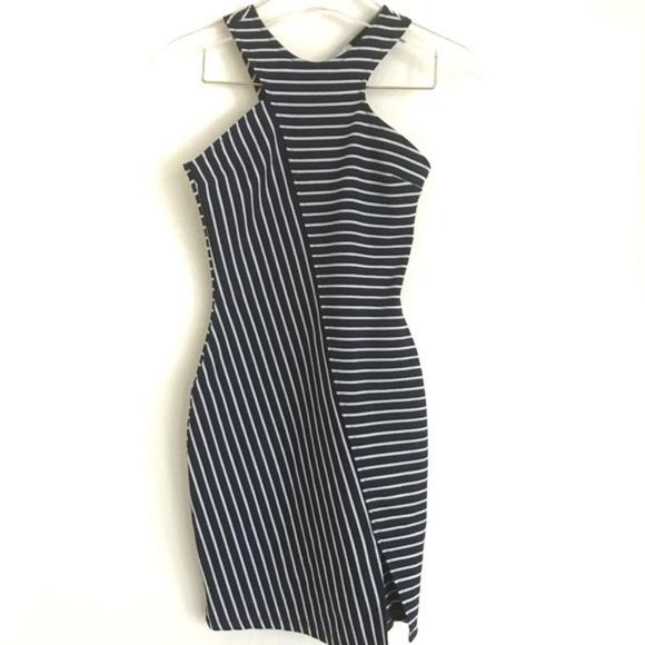 Zara Dresses & Skirts - Zara Trafaluc Bodycon Striped Split Hem Dress